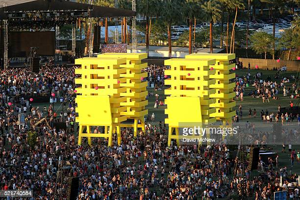 A view of Katrina Chairs by Alexandre Arrechea of Cuba as seen day 2 of the 2016 Coachella Valley Music Arts Festival Weekend 1 at the Empire Polo...