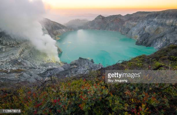 View of Kawah Ijen Volcano at sunrise in East Java, Indonesia.