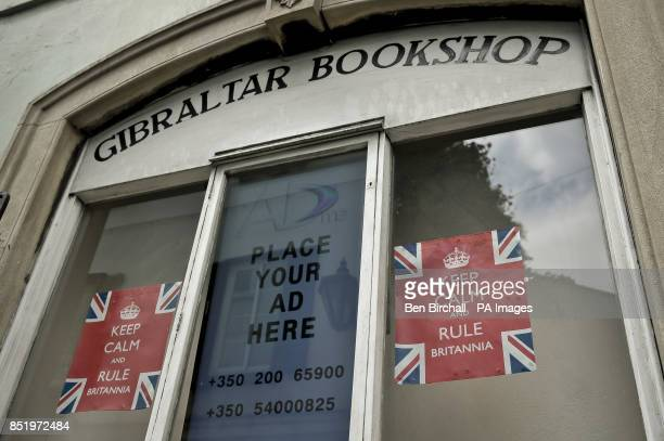 A view of 'Keep Calm and Rule Britannia' posters in the Gibraltar Bookshop window Main Street Gibraltar
