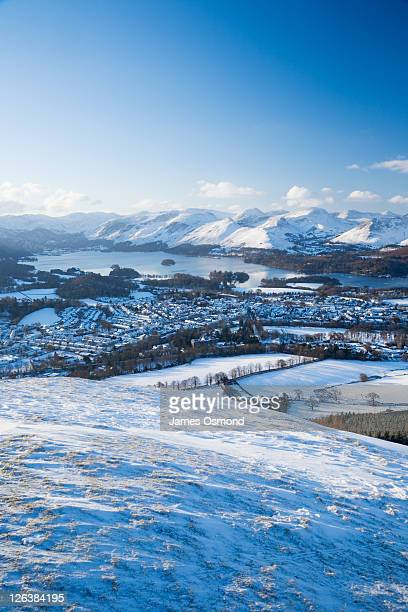 View of Keswick and Derwent Water from Latrigg. Lake District National Park. Cumbria. England. UK.