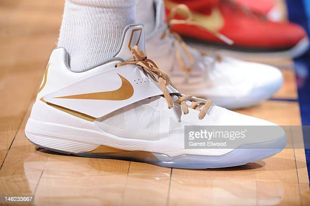 A view of Kevin Durant of the Oklahoma City Thunder sneakers KD IVs in the game against the Miami Heat during Game One of the 2012 NBA Finals at...