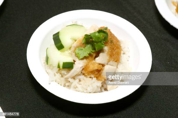 A view of Khao Man Gai the dish served by Khao Man Gai NY during Street Eats hosted by Ghetto Gastro at Industria on October 14 2017 in New York City