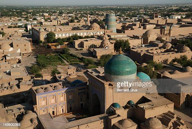 view of khiva from hodja minaret - bernard grua photos et images de collection