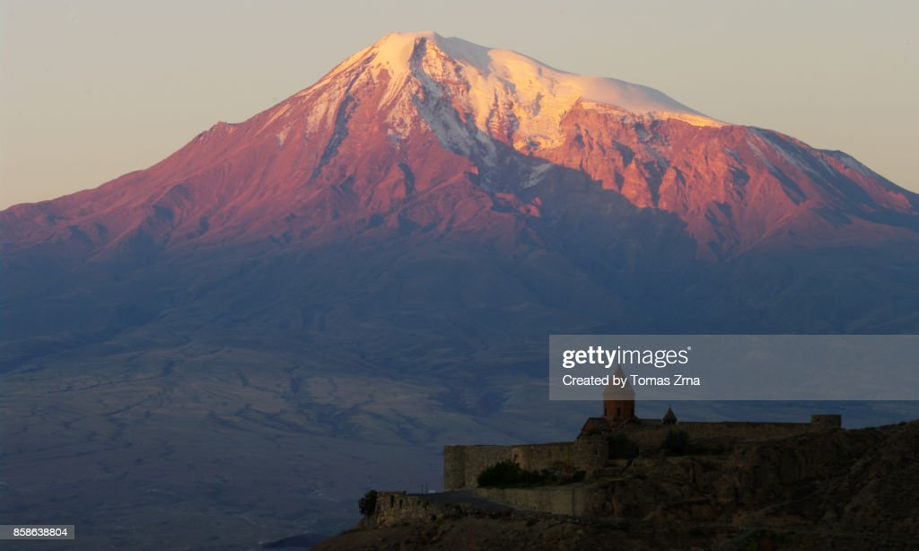View of Khor Virap monastery and Mt. Ararat : Stock-Foto