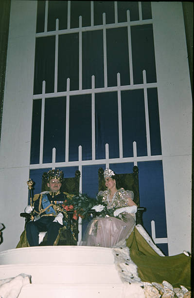 A view of King Boreas and Aurora Queen of the Snows during the StPaul Winter Carnival in StPaulMinnesota