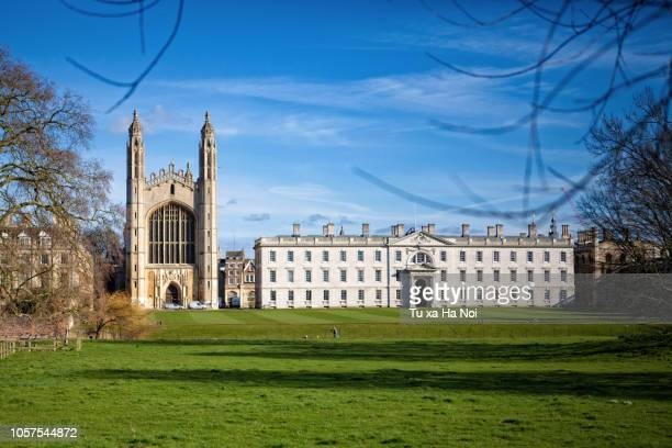 view of king's college chapel and front court across king's back - ケンブリッジシャー州 ストックフォトと画像