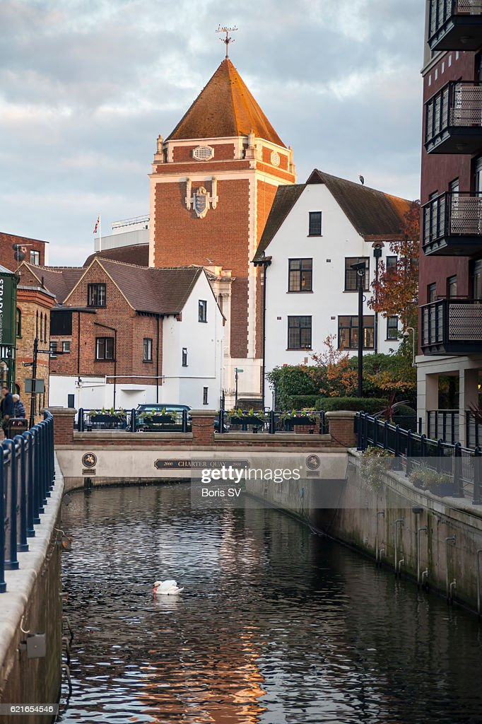 View of Kingston upon Thames from Hogsmill River, England : Stock Photo