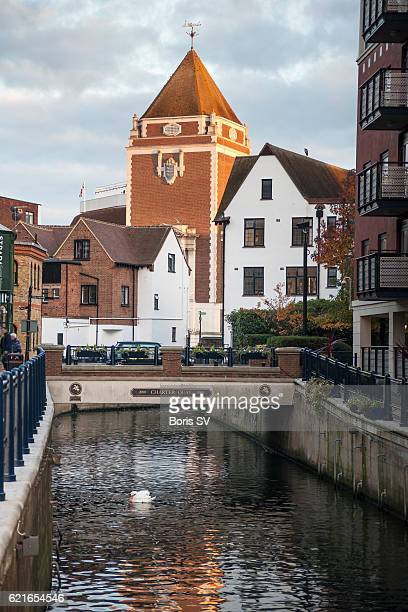 View of Kingston upon Thames from Hogsmill River, England