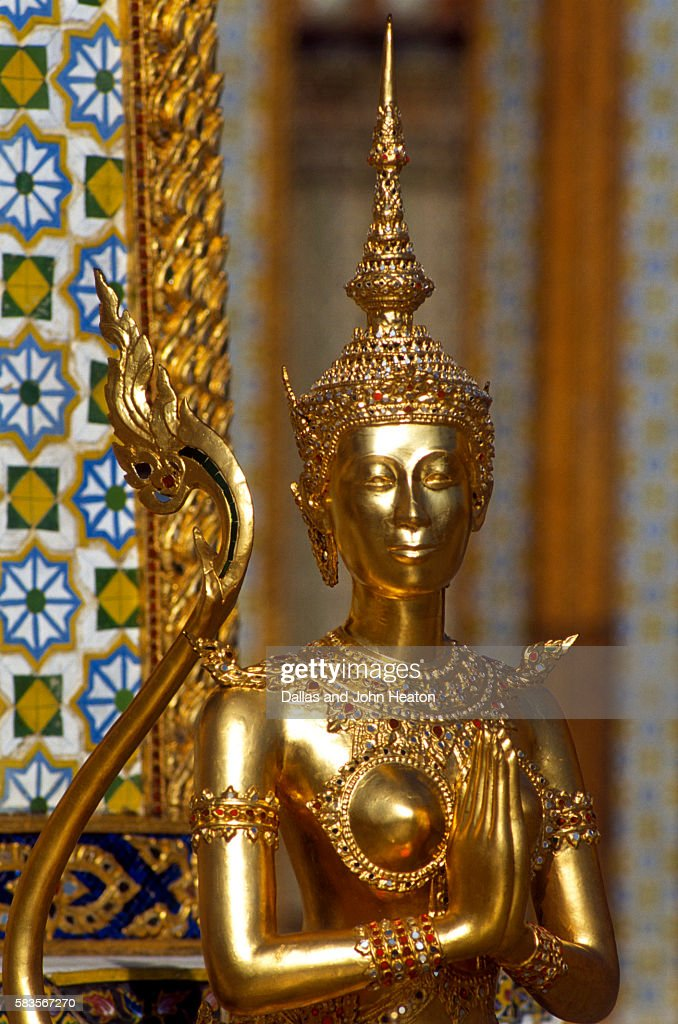 View of Kinnara Figure, Wat Phra Kaeo, Bangkok, Thailand : Stock Photo