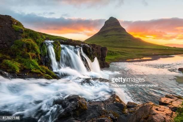View of Kirkjufell mountain and waterfall at dawn, Iceland