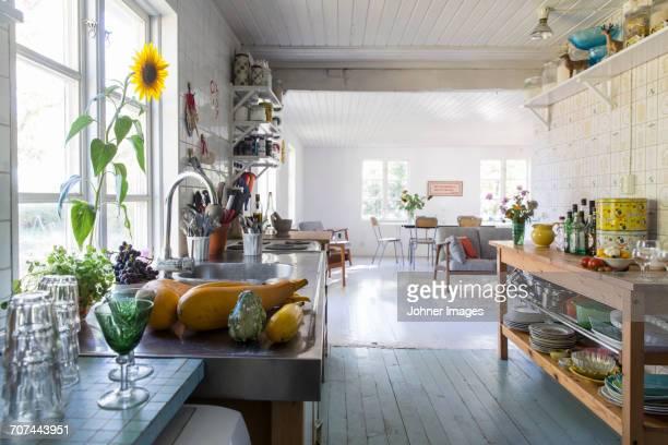 view of kitchen - landhaus stock-fotos und bilder