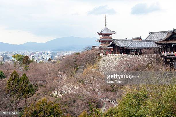 View of Kiyomizudera a Buddhist temple first founded in 778 AD with present buildings datign from 1633 AD in the Higashiyama district of Kyoto