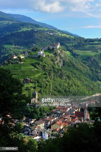 View of Klausen, with Saben Abbey above, Eisack valley, Trentino-Alto Adige, Italy.
