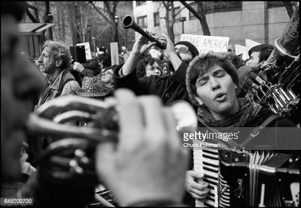 View of klezmer musicians as they perform during the Women's March on New York New York New York January 21 2017 Among those pictured are from left...