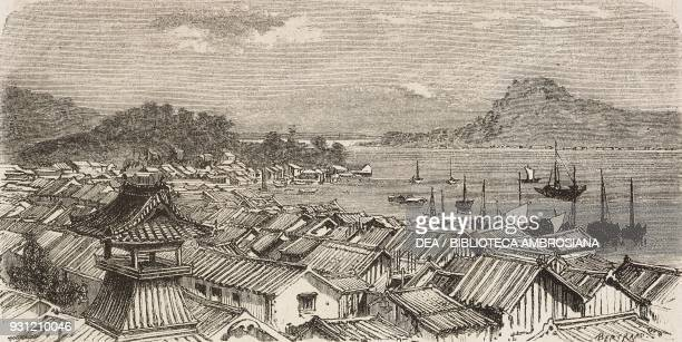 View of Kokura from Shimonoseki Japan drawing by Dominique Grenet de Joigny from a watercolour by A Roussin from Japan by Aime Humbert 18631864 from...