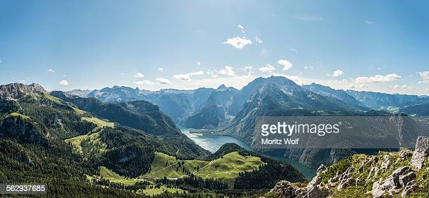 view of konigssee lake and mt watzmann from mt jenner, berchtesgaden national park, berchtesgadener land district, upper bavaria, bavaria, germany - königssee bavaria stock photos and pictures