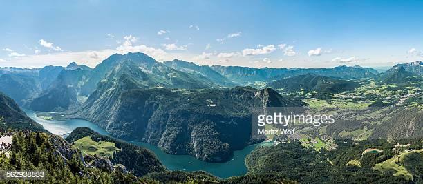 View of Konigssee Lake, Mt Watzmann and the municipality of Schonau am Konigsee, from Mt Jenner, Berchtesgaden National Park, Berchtesgadener Land district, Upper Bavaria, Bavaria, Germany