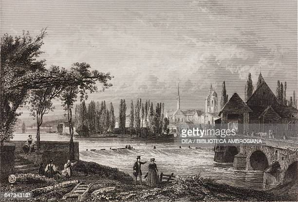 View of Konstantz and the lake of the same name BadenWurttemberg Germany plate from L'ete a Bade by Eugene Guinot illustrations by Tony Johannot...