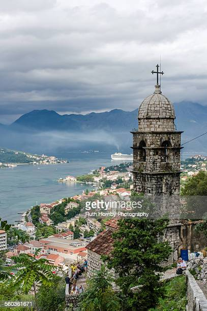 view of kotor old town, montenegro - kotor bay stock pictures, royalty-free photos & images