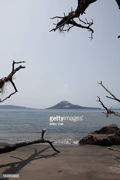 View of Krakatau volcano from a beach, Indonesia