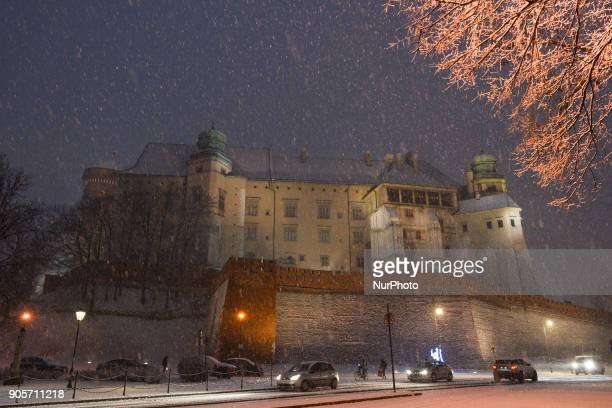 A view of Krakow's streets during a snow storm On Tuesday January 16 in Krakow Poland
