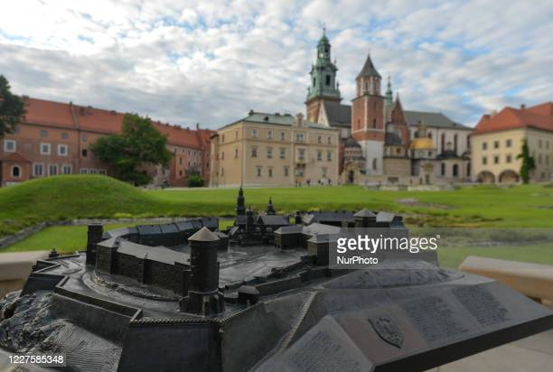 View of Krakow's Wawel Cathedral and a miniature of the castle. On July 14 in Krakow, Poland.