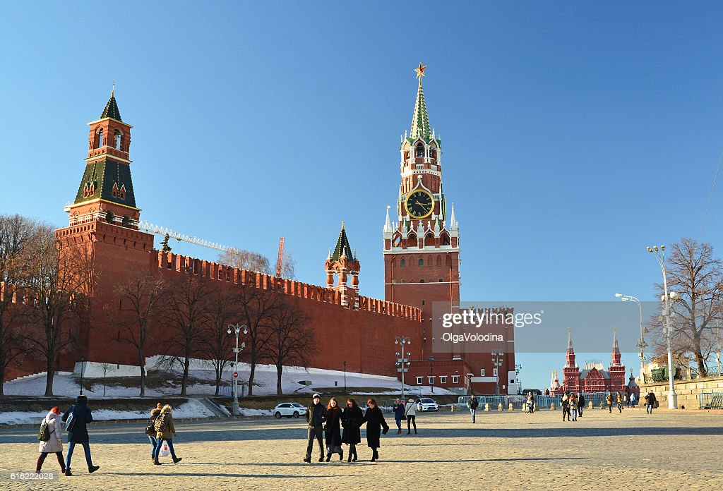 View of  Kremlin from Vasilyevsky Spusk and passers-by : Stock Photo