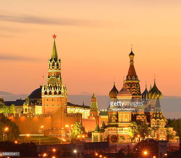 View of Kremlin towers, Saint Basils Cathedral at night, Moscow, Russia