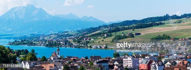 view of kussnacht city in lake lucerne, schwyz, nidwalden, switzerland - schwyz stock pictures, royalty-free photos & images