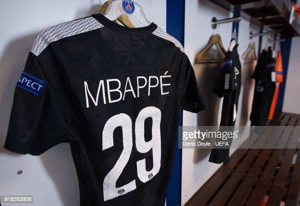 View of Kylian Mbappe's shirt in the Paris SaintGermain dressing room ahead of the UEFA Champions League Round of 16 First Leg match between Real...