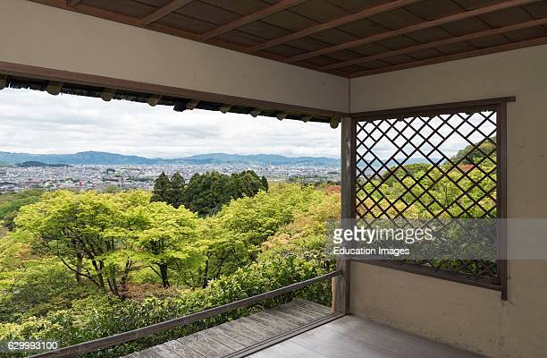 View of Kyoto city from tea house in Okochi Sanso park Kyoto Japan