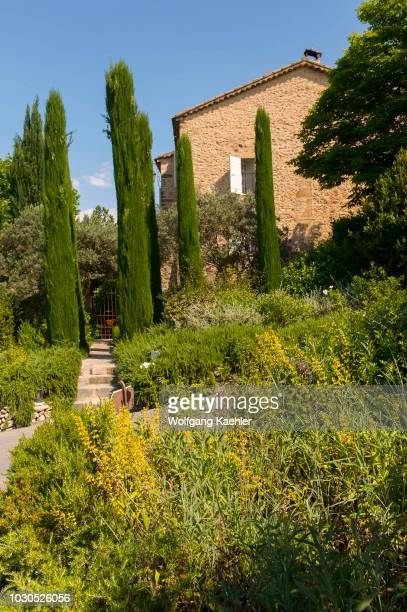 View of La Bastide de Moustiers, a house converted to a hotel, in Moustiers-Sainte-Marie, a medieval village in Alpes-de-Haute-Provence region in...