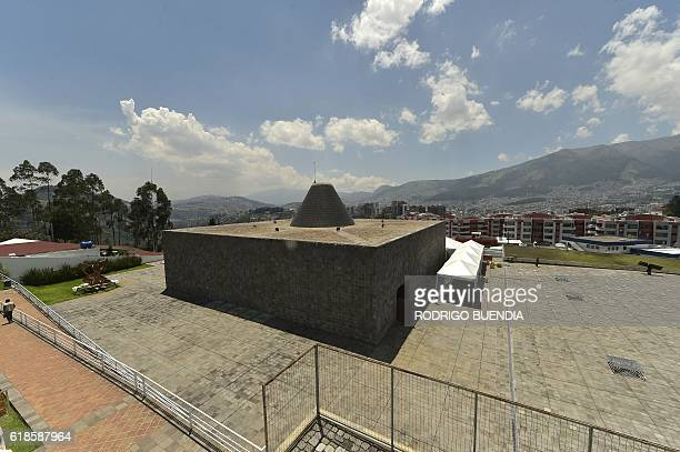 View of 'La capilla del Hombre' at the Guayasamin Museum in Quito on October 27 where the start of the talks between the government of Colombia and...