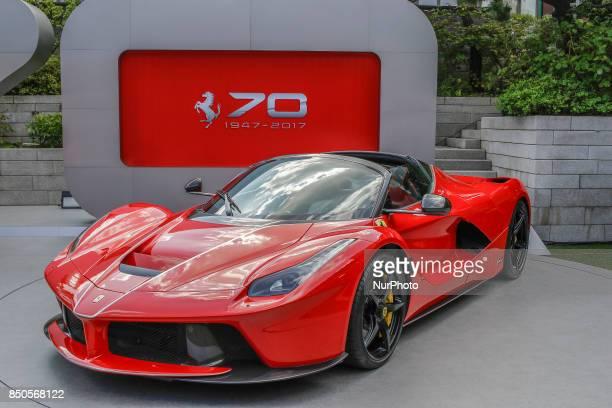 View of La Ferrari aperta displayed event room during an Ferrari 70th Anniversary event in Seoul's Hotel South Korea The biggest Ferrari auction took...