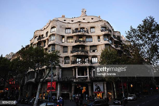 A view of 'La Pedrera' building on October 30 2009 in Barcelona Spain Casa Mila better known as La Pedrera is a building designed by the Catalan...