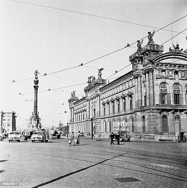 A view of La Rambla Barcelona Spain with the Columbus Monument on the left 14th April 1951 Original publication Picture Post 5243 � Barcelona City In...