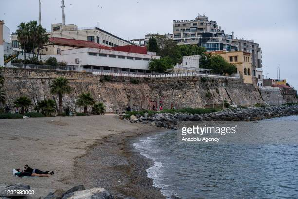 View of La Ribera beach in Ceuta, calm after the arrival of thousands of migrants, on May 19, 2021. Approximately 8 thousand migrants, mostly...