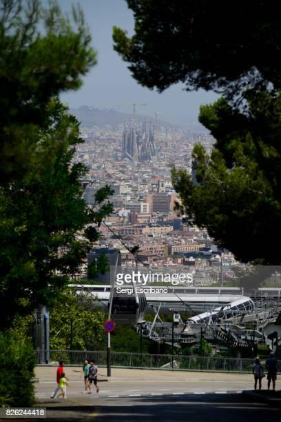 View of La Sagrada Familia from the Montjuic mountain