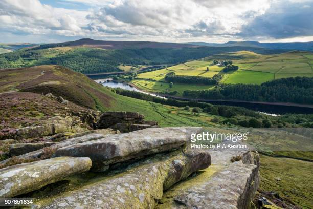 View of Ladybower reservoir from Whinstone Lee Tor, Derbyshire, England.