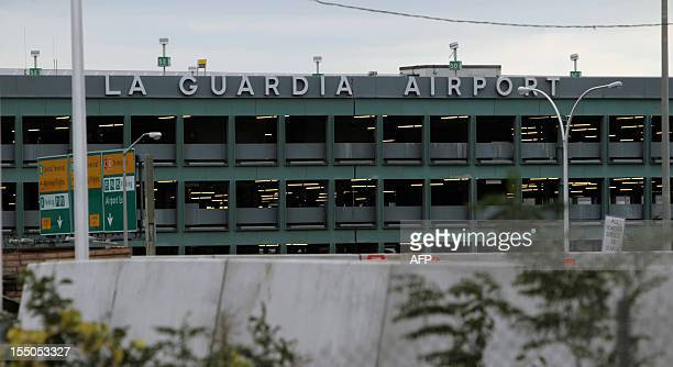 View of LaGuardia Airport still closed after Hurricane Sandy in New York on October 31, 2012. The John F. Kennedy and Newark Liberty airports, both...