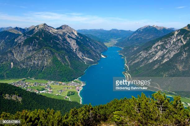 View of Lake Achensee, from the Baerenkopf, mountain landscape, Pertisau, Tyrol, Austria
