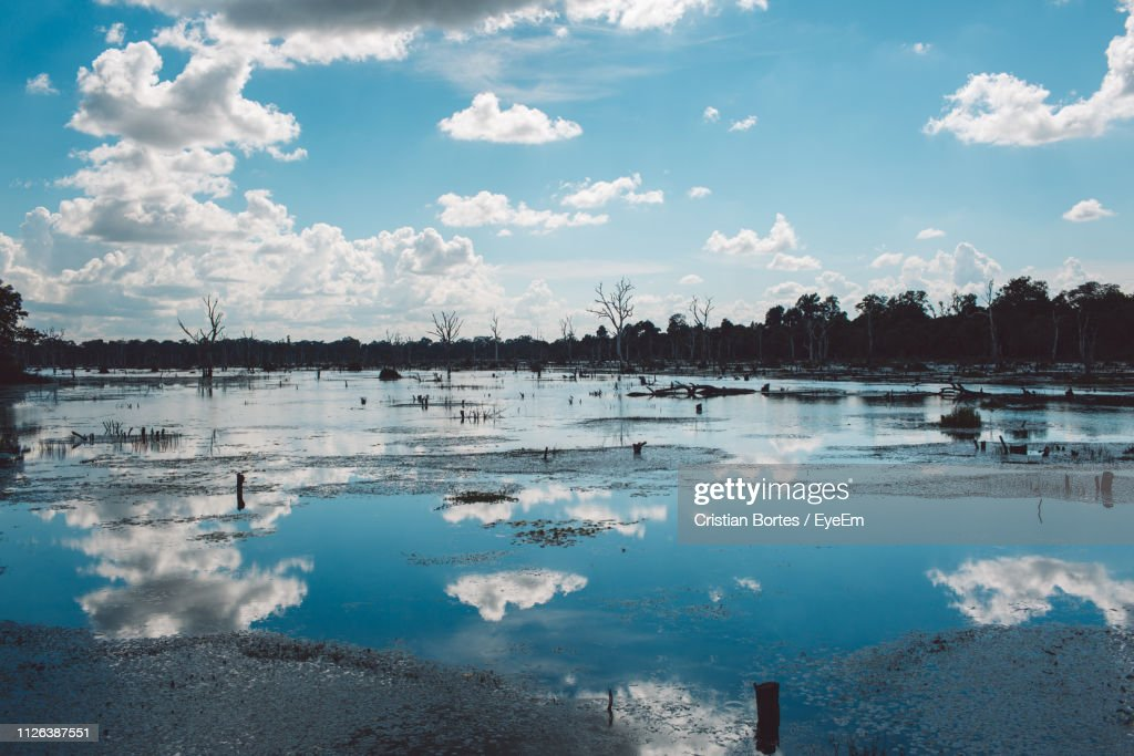 View Of Lake Against Sky : Stock Photo