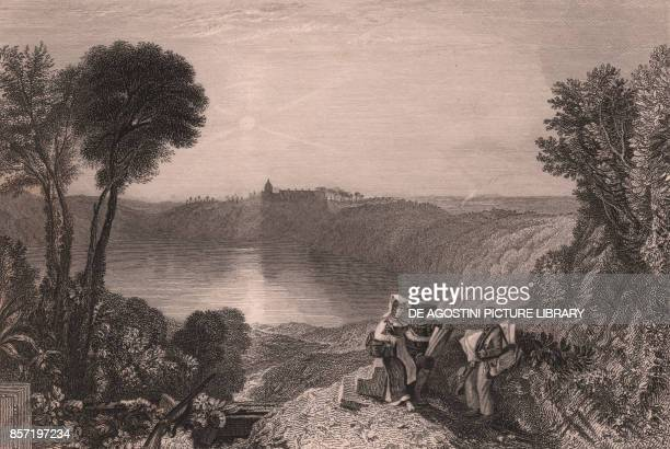 View of Lake Albano Lazio Italy steel engraving by R Wall from a drawing by William Turner published in London 1840