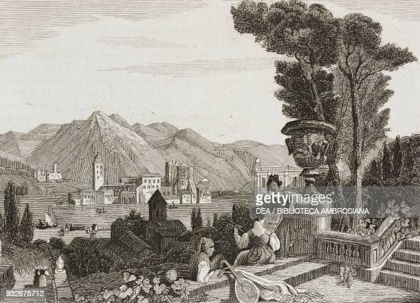 View of Lake Como Lombardy Italy engraving from L'album giornale letterario e di belle arti July 13 Year 6