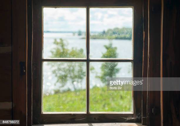 View of lake from cottage window