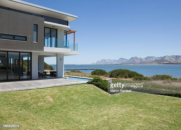 View of lake from modern house