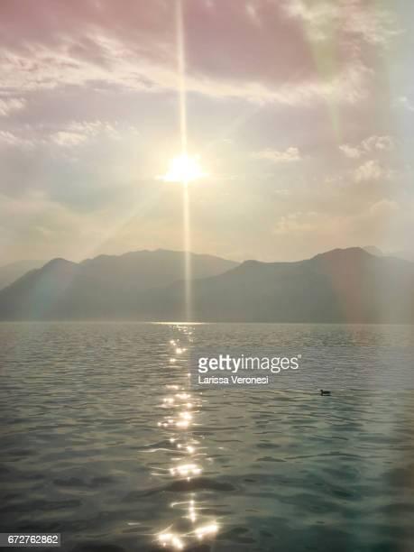 View of Lake Garda at sunset, Malcesine