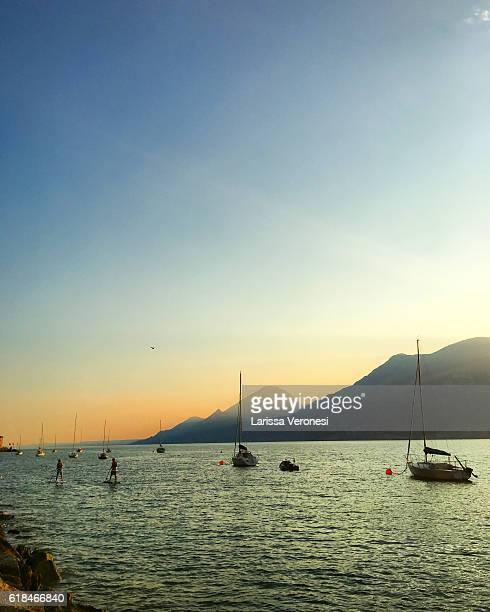 View of Lake Garda at sunset