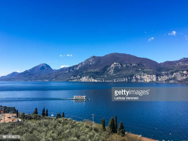 View of Lake Garda with ferry boat, Italy