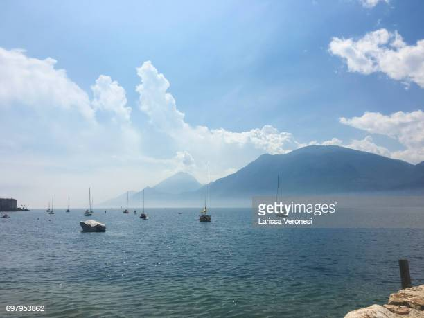 View of Lake Garda with sailboats, Brenzone sul Garda